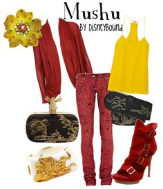 Mushu mulan | Disney Bound. Red cardigan. Yellow tank top. Red pants.