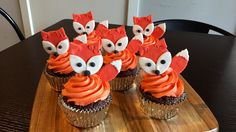 Red fox cupcake toppers x 6