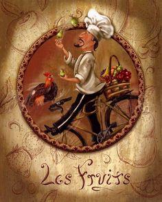 Chief-cook 1 for decoupage - Marina V - Picasa Web Albums Decoupage Vintage, Decoupage Paper, Chef Kitchen Decor, Kitchen Wall Art, Chef Pictures, Le Chef, Fruit Art, Vintage Labels, Decoration Table