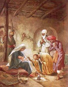 De wijzen uit het Oosten vereren het kindje Jezus en schenken wierook, mirre en goud