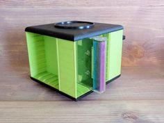 Vintage 80s  90s Audio Cassette Holder Plastic Green Black