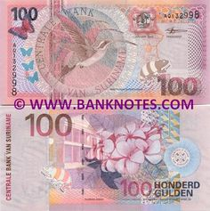 Suriname 100 Gulden 2000  Obverse: Fauna, flora and map of Suriname. Featured bird: Eastern Long-tailed Hermit (Phaethornis Superciliosus); Butterflies and a Chameleon; Coat of Arms. Reverse: Featured flower: Frangipani, Plumiera (Plumeria rubra); Building of the Central Bank of Suriname. Watermark: Building of the Central Bank (CBVS).