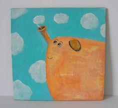 WÖLCKCHENBLÄSER von Herbivore11 Unikat Elefant Minibild Inchie Quadrat Wolke süß