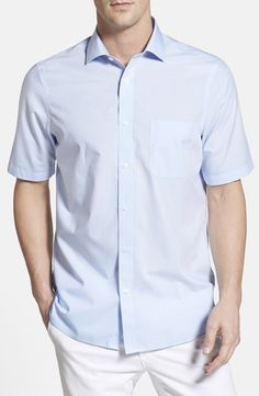 Nordstrom Men's Shop Smartcare™ Regular Fit Windowpane Short Sleeve Sport Shirt