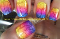 Rainbow-gradient-nail-art-with-crackle-nail-polish~ Dawn This is what I want when I come in! Fun!
