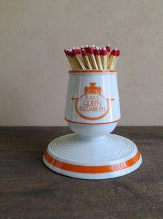 Vandor Imports Porcelain Match Holder and Striker, RMS Queen Elizabeth Match Stick Holder by MinniesFlea on Etsy
