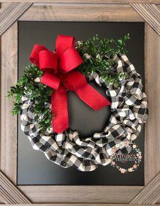 Buffalo Plaid Burlap Wreath with Magnolia Leaves Front Door Wreath Holiday Wreath Buffalo Chandelier Front Door Decor, Wreaths For Front Door, Door Wreaths, Burlap Wreaths, Front Doors, Front Porch, Holiday Wreaths, Christmas Decorations, Holiday Decor