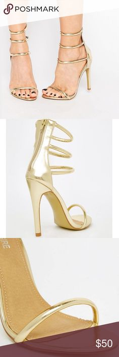 """Gold Stappy Heeled Sandal UK 7 = US 9. Heel 4"""". True to size. 🚫No Trades!🚫 ❌Not Branded Nasty Gal.... Just for views!!!❌ Public Desire  Shoes Sandals"""