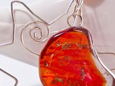 "Red moon and silver sun fused glasssterling silver by LaTerraCanta IN A SHORT TIME, MANY CHANGES AND RENEWAL IN MY SHOP .. AND THEN? TAKE THE OPPORTUNITY! -30% UNTIL 31 DEC. code ""RENEWAL""!!!"