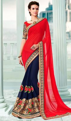 Personify stylishness in this royal blue and red color georgette half n half sari. This attire is nicely designed with lace, stones and resham work. #traditionallooksari #embroideredsaris #borderworksarees