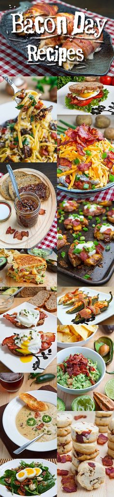 Bacon Day Recipes ~ this roundup includes everything from sandwiches to pastas, soups, salads, dips, snacks, sides, pies, pizzas and even sweet things like pancakes and cookies...  baconlicious!