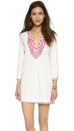 Soft Joie Mykelle E Tunicntrast embroidery lends a hit of color to this Soft Joie tunic. Split neckline. Long sleeves. Split hem.  Fabric: Jersey. 100% cotton. Wash cold. Imported, India.  Measurements