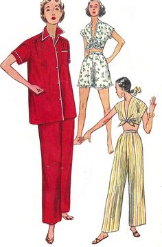 1950s Pajama Pattern Midriff Tie Top Long Short Bottoms Vintage Sewing Simplicity Womens Misses Size 12 Bust 30 Inches
