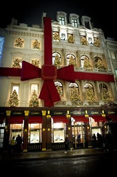 A general view of the Christmas decorations on the Cartier store in Bond Street on November 2010 in London, England. A general view of the Christmas decorations on the Cartier store in Bond Street on November 2010 in London, England. Merry Christmas, Christmas And New Year, Winter Christmas, All Things Christmas, Christmas Holidays, Christmas Decorations, Xmas, Holiday Decor, Luxury Christmas Decor