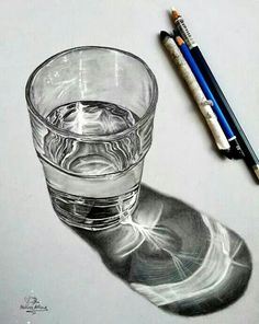 Glas of water hyperrealistic drawing