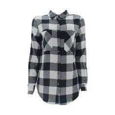 Ambiance - Women's Long Sleeves Plaid 2 Pocket Woven Shirt - Black/Ivory