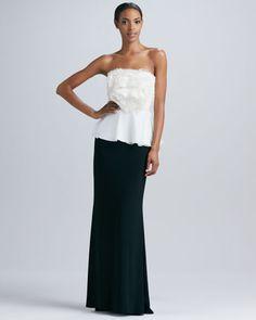 Badgley Mischka Strapless Rosette Organza Top & Matte Jersey Long Skirt - Neiman Marcus