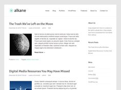 Alkane is a simple, customizable and clean theme for WordPress. It uses superfish menu effects, built-in pagination for post pages and an elegant layout. Add your own personal flair by uploading a custom header or background image. The customization options include theme settings page, custom background, custom header.