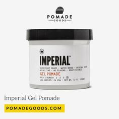 Imperial Gel Pomade is a strong hold, high shine water based pomade made for those classic cuts from contours, to side parts, pomps and slick backs. Mens Pomade