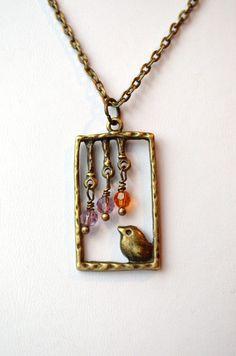 Personalized Jewelry  Baby Bird Necklace Childrens door GlassPoppies, $24.00
