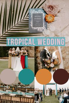 Such a cool wedding theme, obsessed with the bridesmaids dresses! Bridesmaids, Bridesmaid Dresses, Color Palettes, Wedding Colors, Tropical, Florida, Real Estate, Cool Stuff, Frame