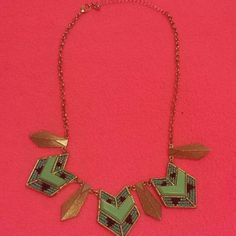 Super Cute Fashion Necklace! Tribal style, teal and black beads and gold coloring Jewelry Necklaces