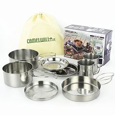 family camping pots and pans - Outdoor Portable Camping Hiking Cooking Stainless Pots Pans Cookware Set *** Learn more by visiting the image link. (This is an affiliate link) Family Camping, Camping Beds, Outdoor Stove, Pot Sets, Cookware Set, Camping Hacks, Outdoor Activities, Tableware, Pots