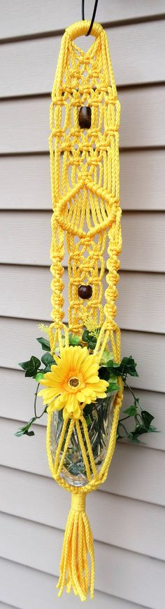 This beautiful macrame plant holder will surely brighten up a room!!   Yellow Macrame Plant Hanger, Short Macrame Hanging Planter, Small Bohemian Beaded Pot Holder, Macrame Pot Hanger, Modern Macrame Hanger