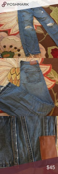 VEUC J. Crew distressed cropped jeans 27T Worn twice. Intentionally distressed. Mid rise. Let out hem. Hits at ankle. J. Crew Jeans Straight Leg