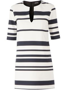 Off-white and navy blue cotton blend shift dress from Neil Barrett