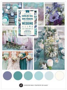 Beach and Sea-Glass Blue Inspired Wedding Theme | Wedding color palette | Wedding Paper Divas | Affiliate link |