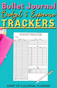 Get on top of your finances with these bullet journal budget and expense trackers! #bulletjournaltrackers #budget #expensetracker #budgettracker Bullet Journal Tracker, Bullet Journal Hacks, Bullet Journal Printables, Bullet Journal Mood, Printable Budget Worksheet, Monthly Budget Printable, Budgeting Worksheets, Budget Planner Book, Budget Planner Template