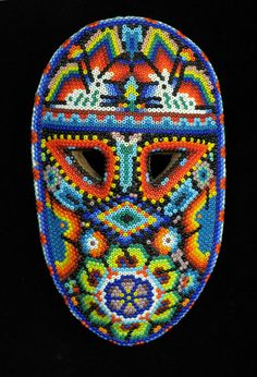 Huichol people, Nayarit, Mexico, c. 2006 Beads pressed into beeswax on wood mask