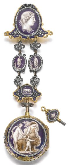 George Philip Strigel, London AN EXTRAORDINARILY RARE AND VERY FINE GOLD ENAMELED AND DIAMOND SET REPEATING CYLINDER WATCH AND GILT-METAL CHATELAINE WITH FINE ENAMEL SCENE BY MOSER CIRCA 1775