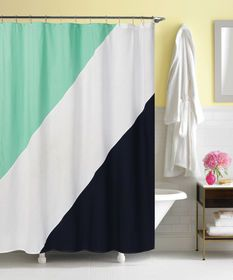 Picture Of Green And Navy Color Block Shower Curtain
