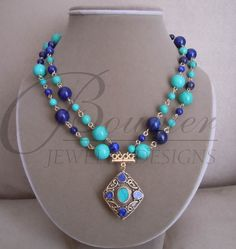 Blue Lapis Lazuli and Turquoise Pendant necklace.