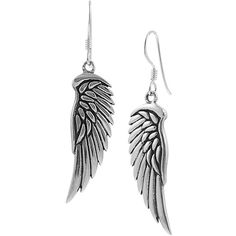 Sterling Silver Wing Dangle Earrings- SilverBin-Jewelry-Sterling... ($25) ❤ liked on Polyvore featuring jewelry, earrings, accessories, brincos, sterling silver dangle earrings, earrings jewelry, sterling silver earrings, sterling silver jewellery and long earrings