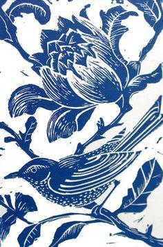 Blue Bird, Linocut Print.