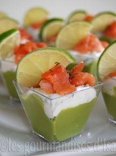 Les gourmandises d'Isa: VERRINES AVOCAT, FROMAGE À LA CRÈME AUX HERBES ET SAUMON FUMÉ