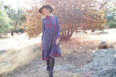 Fab fab dress! Prairie Dress Vintage 70's Dark Blue Paisley Dress by enidandedgar on Etsy, $48.00
