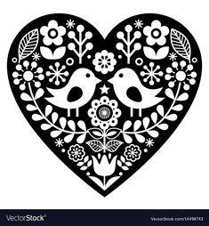 Stock Vector - Scandinavian black folk art pattern with birds and flowers - Valentine's Day, love concept Scandinavian Pattern, Scandinavian Folk Art, Folk Art Flowers, Flower Art, Cross Stitch Embroidery, Embroidery Patterns, Art Scandinave, Bird Template, Valentines Flowers