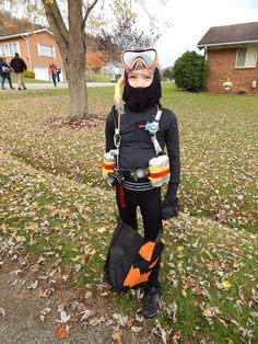 Scuba diver costume DIY.  Black Under Armour shirt and pants, ski mask, goggles and snorkel and tool belt with watches for gauges and flashlight.  Halloween 2014