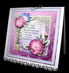 8x8 RASPBERRY & MINT FLORALS Topper & Decoupage by Dianne Jackson I mounted onto an 8 x 8 card with a Pansy punched border and decoupaged with sticky pads. I added a silver elasticated bow to the spine to finish