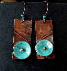 Salvaged copper with torch-fired enamel by Vintajia Adornments, via Flickr