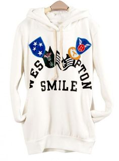 White Honorary Badges Hooded Sweatshirt$43.00
