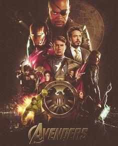 Avengers Fan Poster || Nick Fury, Tony Stark, Steve Rogers, Natasha Romanoff, Bruce Banner, Thor Odinson, Phil Coulson, Clint Barton || 500px × 619px || #fanart