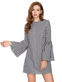 online shopping for Floerns Women's Bell Long Sleeve Shift Gingham Dress from top store. See new offer for Floerns Women's Bell Long Sleeve Shift Gingham Dress Bell Sleeve Dress, Bell Sleeves, Casual Dresses For Women, Short Dresses, Dress Long, Mode Shorts, Dress Outfits, Fashion Dresses, Top Mode