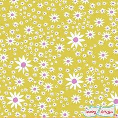 Daisy Chain Chartreuse Daisies by Annabel Wrigley by Windam Fabrics