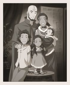 The Legend of Korra/ avatar the Last Airbender: Aang and Katara with their children, Bumi, Kya, and Tenzin, when they were little. ALL THE FEELS! Avatar Aang, Team Avatar, Zuko And Katara, Ang And Katara, Avatar Legend Of Aang, The Last Avatar, Avatar The Last Airbender Art, Got Anime, Inu Yasha