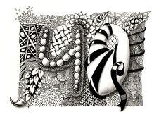 Geburtstagskarte selber drucken: Zentangle inspired art für den 40. Geburtstag